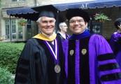 Luke Flores and John Disterhoft following the Ph.D. hooding ceremony. June 16, 2011